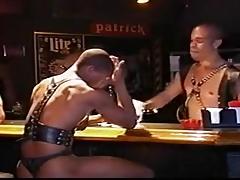 Black leather gang bang