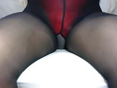 crossdresser pantyhose and red panties 012