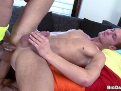 Horny gays Ennio and Mike's bareback banging in massage parlor