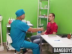 Skinny twink gets toyed and ass fucked by a hung doctor