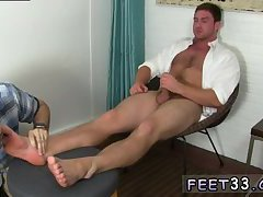 Sexy gay naked guy gets feet licked