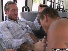 Exotic queer gets his ass smashed by a gay daddy in a bus