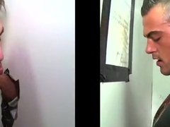 Hot gloryhole blowjob scene with horny poofter Aaron Styles