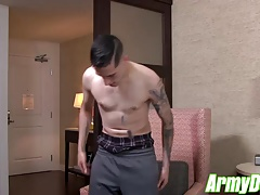 Hot ass James Devlin jerking his fat dick off in hotel room