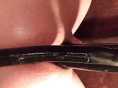 Double anal dildo stuffing