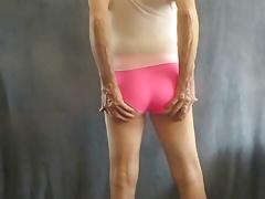 Spandex sissy in hot pink slut shorts