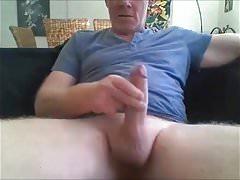 silver daddy cum on black sofa