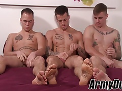 Big stiff dick soldiers fucking and barebacking in threesome