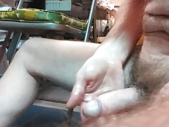 Masturbating and orgasming with a super hard penis.