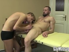 Handsome gay gets more than just a massage from his lover