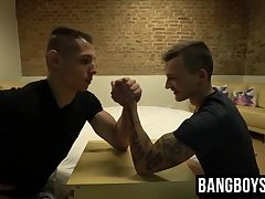 Hot guys arm wrestling to see whos the top of the house