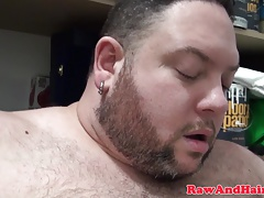Pierced superchub masturbates in stock closet