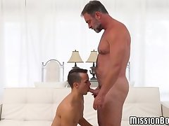 Sexy bear daddy banging cute young Mormon until he cums