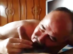 moustache daddy sucking big cock