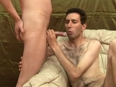 Nasty gay sucks a prick and welcomes it in his hairy butt