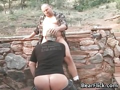 Gay bears outside fucking their brains out