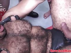 Leather fetish hairy gays bareback group fuck