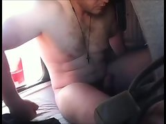 Trucker Relaxing On Sunday Afternoon