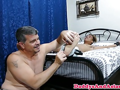 Barebacked pinoy twink cumsprayed on foot