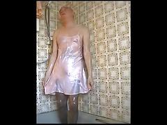 pink satin slip ....shower