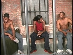 Skinny black gay Romeo gets fucked by his buddies in a jail