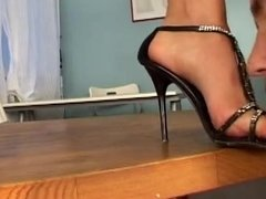 Sissy slave is handcuffed stumped & foot dominated by femdom