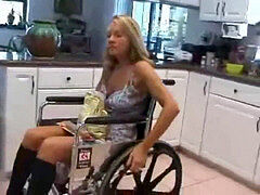 Paraplegic wheelchair pretender Renee in lezzy fuckfest