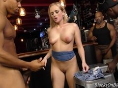 Interracial gangbang at night club with PAWG blonde whore Kate England