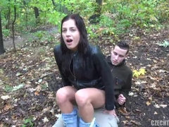 Sexy hottie in a tight leather jacket likes outdoors sex