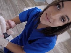 Medical expert Jessa Blue gives full exam to her stepbro's dick