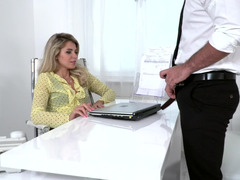 Slender secretary gets a hard cock in her pussy in the workplace