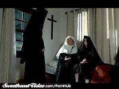 busty g/g Nuns lick Each Other Out as Sister Secretly Watches