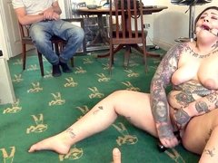round English subslut frolicking her pussy with a beer bottle