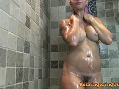 Under shower I nailed my booty with my lovemaking toys