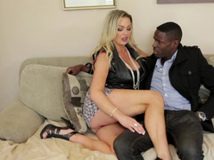 A hot milf gets fucked by a black dude while her husband watches