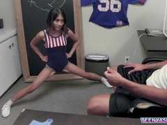young Asian cheerleader shows her fucking skills