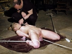 Ligatured up teen slave screaming in pain bondage and BDSM sex
