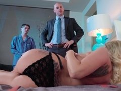 Husband watching as boss bangs his wifey Christie Stevens