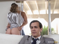Cheating wife Lena Paul in hardcore cock riding action
