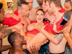 Awesome cum drinking and blwbang action with a busty Angela White