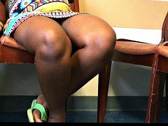 Pregnant African French Lady Voyeur Upskirt Sitting