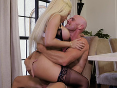 Bald boss has wild sex with voluptuous maid in his big house