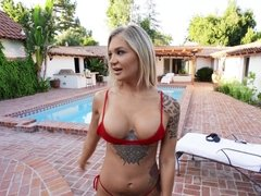 Horny babe in red bikini Alison Avery pounces on her neighbor's dick