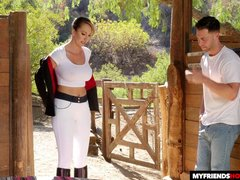 Lustful MILF seduces son's friend on sex in the barn