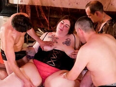 Pretty sweet BBW angel Natascha is sucking multiple hard dicks