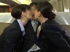 Japanese stewardesses seduce their horny passenger on the plane