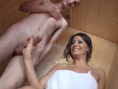 After sauna busty MILF becomes in mood for quick sex