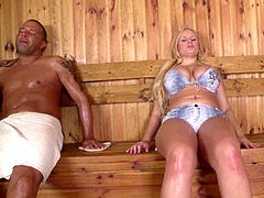 hot sauna sex makes busty Milf Angel Wicky wank, inhale & fuck two phat cocks