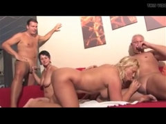 Bisexual mature foursome has a lot of sex fun
