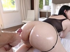 Babe Violet Rains with big ass in oil gets the desired fuck and cum on the ass